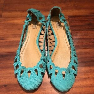 Zara Turquoise Textured Leather Summer Flats